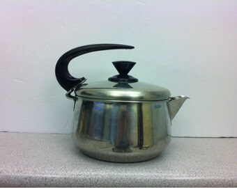 Mid Century Stainless Steel Tea Pot Soltam Farber Ware. Made in Israel