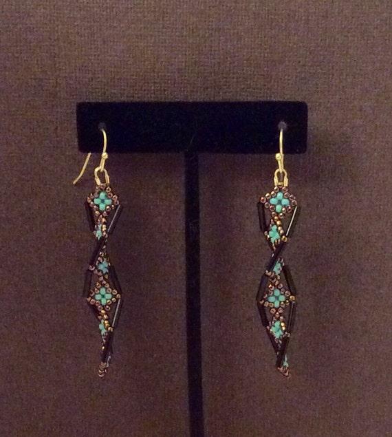 dna helix twist dangle earrings black bronze aqua by