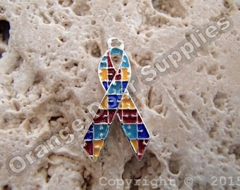 Autism Awareness Ribbon Charm 20mmx15mm- 10 Pcs (ASD107)