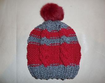 Burgundy gray knit hat with natural burgundy pom pom or gray Pom Pom