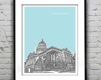 Sacramento California Poster Art Skyline Print Version 4