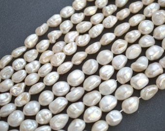 """FreshWater Keishi Pearl Rice Nugget Shape Metallic White Color Size 6x10mm to 8x9-10mm Full Strand 16"""" K3-01"""