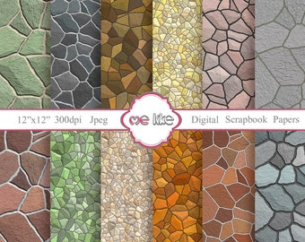 Digital Scrapbooking Stone  Wall  Paper Pack  -INSTANT DOWNLOAD-Digital Paper for Personal or Commercial Use - 12 Sheets - 300 DPI -
