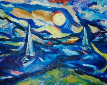 Original Art Print. Impressionist sailboats sunrise seascape original oil painting by BrandanC