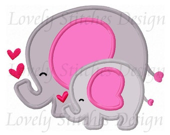 Two Elephants Applique Machine Embroidery Design NO:1319