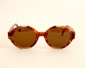 Vintage Sunglasses  Les Copains mod. 12 col. 299 Round Tortoise Hippie Steampunk Hand Made in Italy