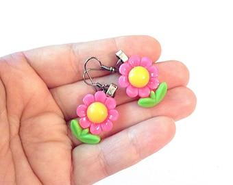 Pink flower earrings, spring earrings