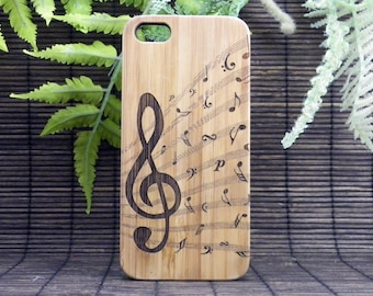 Treble Clef iPhone 7 Case. Music Notes. Musician Band Orchestra Songwriter Jazz Choir. Bamboo Wood Cover. iMakeTheCase Brand