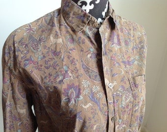 Brown and Purple Animal Motif Esprit Women's Button-down Shirt - Small