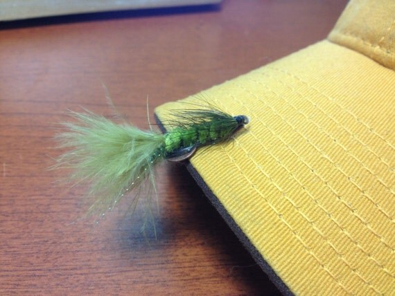 Green Wooly Bugger Hat Clip