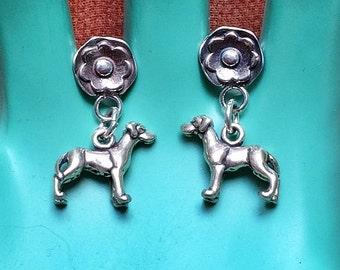 Great Dane Daisy Sterling Silver Earrings