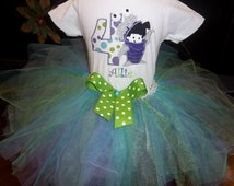 Monsters Inc Boo Shirt with Skirt and Tutu - 3 Piece Outfit