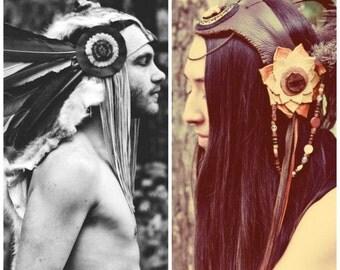 OOAK CUSTOM made to order Headdress, festival crown, warrior goddess, tribal fairy, intergalactic steampunk , LOVE