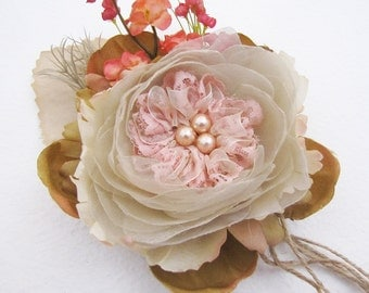 Handmade Wedding Cream  Flower Brooch /Hair Clip/Bag Clip