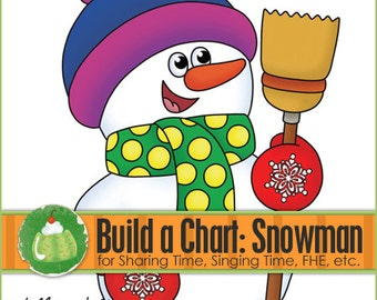 Build a Snowman Chart - Downloadable PDF File - Snowman, Singing Time, Music, Primary, LDS Primary, Nursery, Preschool, Music Time