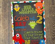 Little Monster Invitation Chalkboard Birthday Invitation Printable Custom DIY Digital File