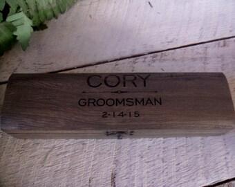 Groomsmen Box, Groomsman Box, Knife Box,  Best Man Box, Keepsake Box, Rustic Gift, Wooden Box, Groomsmen Gift