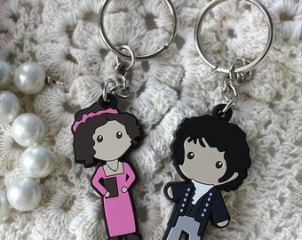 Mr. Darcy And Elizabeth Bennet Lizzie Figure Keychain Set Charm Necklace Jane Austen Pride & Prejudice Gift Book
