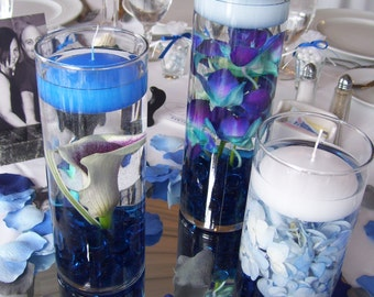 6 Royal Blue Floating Candles,Available in 20 Colors