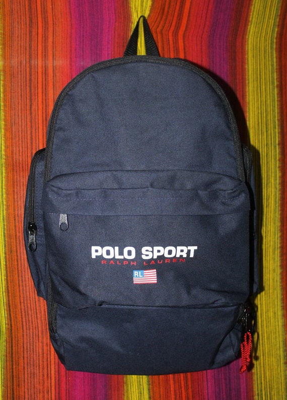Vintage Polo Sport Ralph Lauren Backpack Bag USA Flag Spell