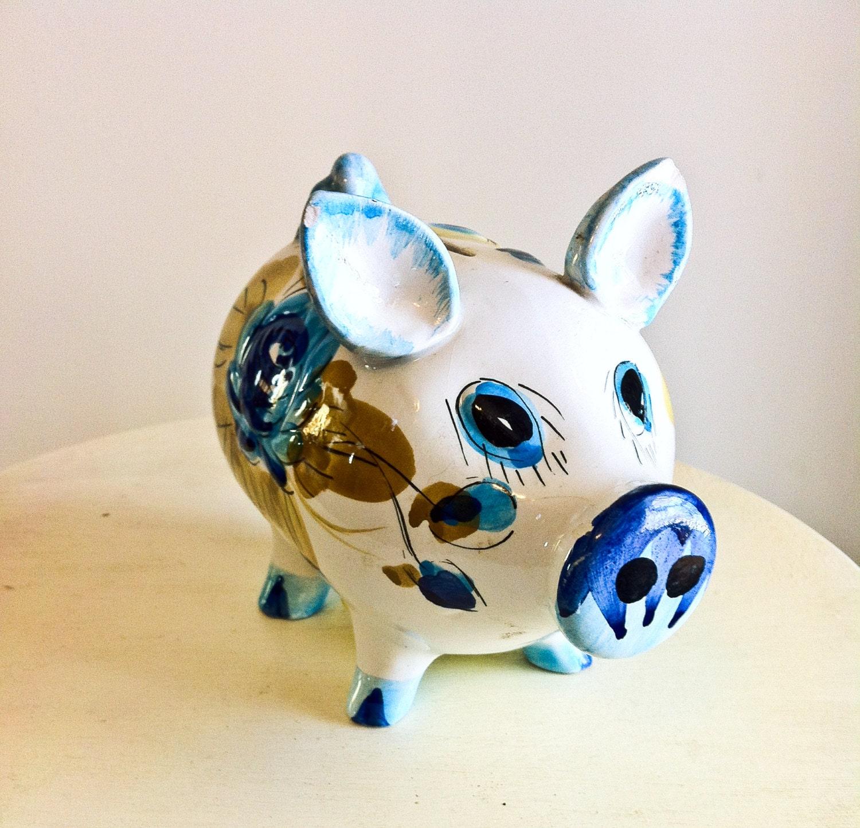 Vintage Italian Ceramic Piggy Bank Made In Italy