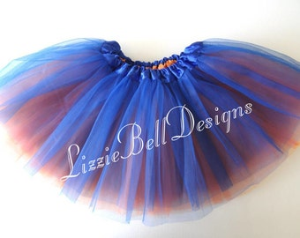 "Blue / Orange Reversible Ballet Tutu Two Tone Skirt  / Waist Stretch 14-24"" / Child Toddler Costume Photo Prop Soft Tulle"