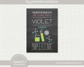 Science Birthday Printable Birthday Invitation with Pink by tania's design studio