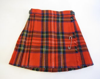 Vintage Toddler Girl Red Plaid Pleated Skirt - age 4