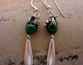 Pinkletink Frog & Malachite Handmade Dangle Earrings