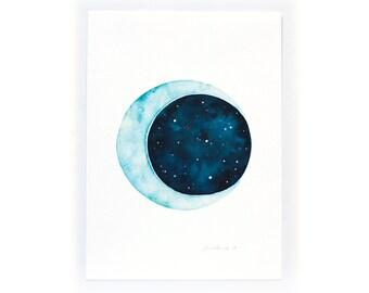 Watercolour Art Print - Moon
