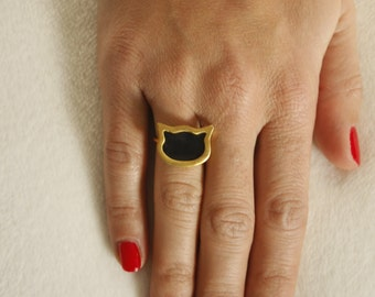 Cat ring / gold plated