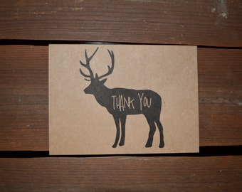 Thank You Cards - Set of 5 Rustic Buck Kraft Thank You Notes