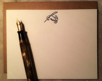 Writing flat letterpress cards- set of 6
