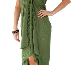 Women's Hand Painted Bamboo Design Swimsuit Cover-Up Sarong