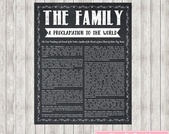 8X10 or 16X20 LDS The Family a Proclamation to the World. Chalkboard Printable