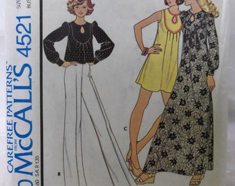 UNCUT Vintage 1975 McCall's 4521 Misses' DRESS or TOP Pattern sz Small 10-12