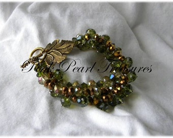 Green Forest Braid beaded bracelet