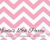 Customised Birthday Invite - Pink Chevron - Digital