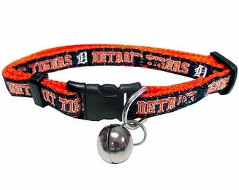 Detroit Tigers Cat Collar - Breakaway Collar, Cat Safety Collar, NFL Cat Collar