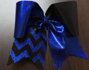 Dark Blue and Black w/black Glitter Chevron Cheer Bow