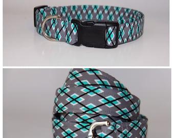 Grey and Teal Argyle Dog Collar and Leash set