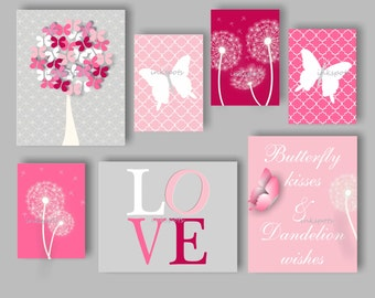 Butterfly Nursery Bedding Decor. Dandelion Nursery Bedding Decor. Butterfly Nursery Art. Girls Butterfly Decor. Choose Colors BF2619