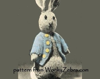 Vintage Rabbit Toy Knitting Pattern Bunny  Peter Rabbit PDF735 from ToyPatternLand and WonkyZebra