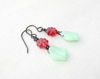Mint Julip - Czech Glass earrings