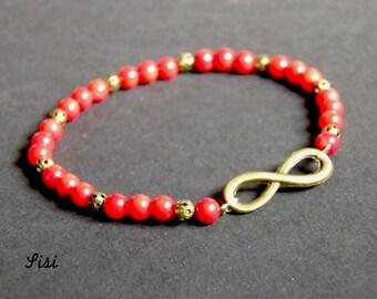 Infinity bracelet bronze pearl coral