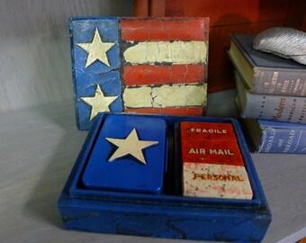 Patriotic wood box stamp kit