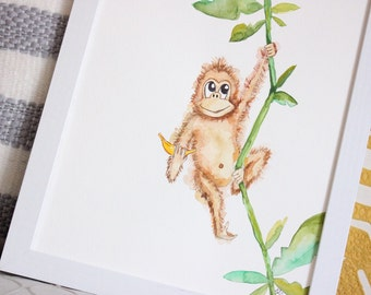 Watercolor baby monkey for nursery