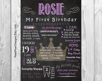 Princess gold Birthday Chalkboard First Birthday Chalkboard Stat digital file prop/decor One Year Girl/Boy - Monthly/ First year bday