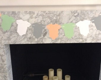 Peach and Mint Baby Shower Decor, Peach and Grey Paper Garland, Mint and Gray Baby Shower, Mint and Peach Baby Shower Decor