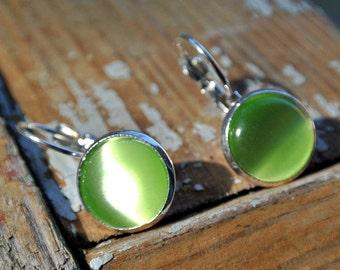 Earrings cabochon glass 12mm Green